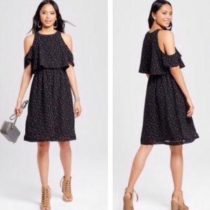Mossimo black polka dot cold shoulder dress XXL
